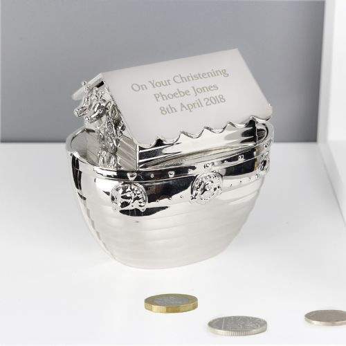 Personalised Silver Noah's Ark Money Box